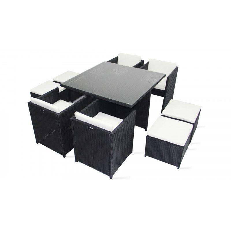 Table de jardin en résine tressée 8 fauteuils et 4 poufs