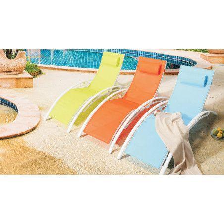 Bains de soleil pas chers en aluminium et textilène