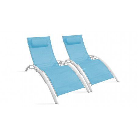 Bains de soleil bleus en aluminium et textilène