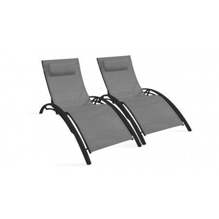 Bains de soleil gris en aluminium et textilène
