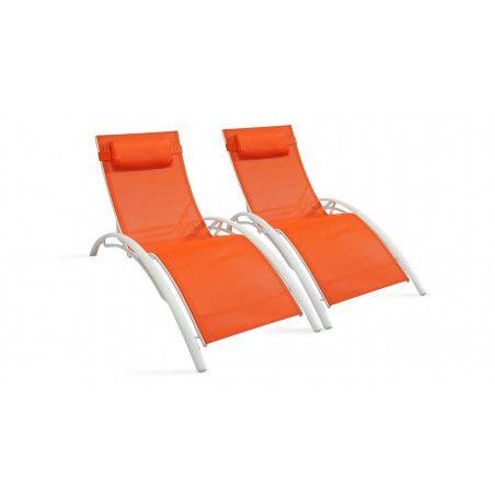 Bains de soleil oranges en aluminium et textilène