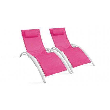 Bains de soleil roses en aluminium et textilène