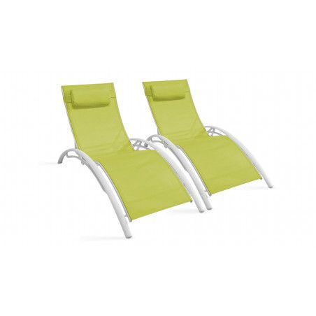Bains de soleil verts en aluminium et textilène