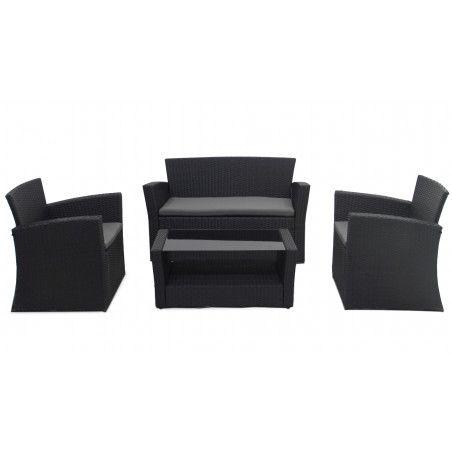 Salon de jardin en résine fauteuil canapé et table