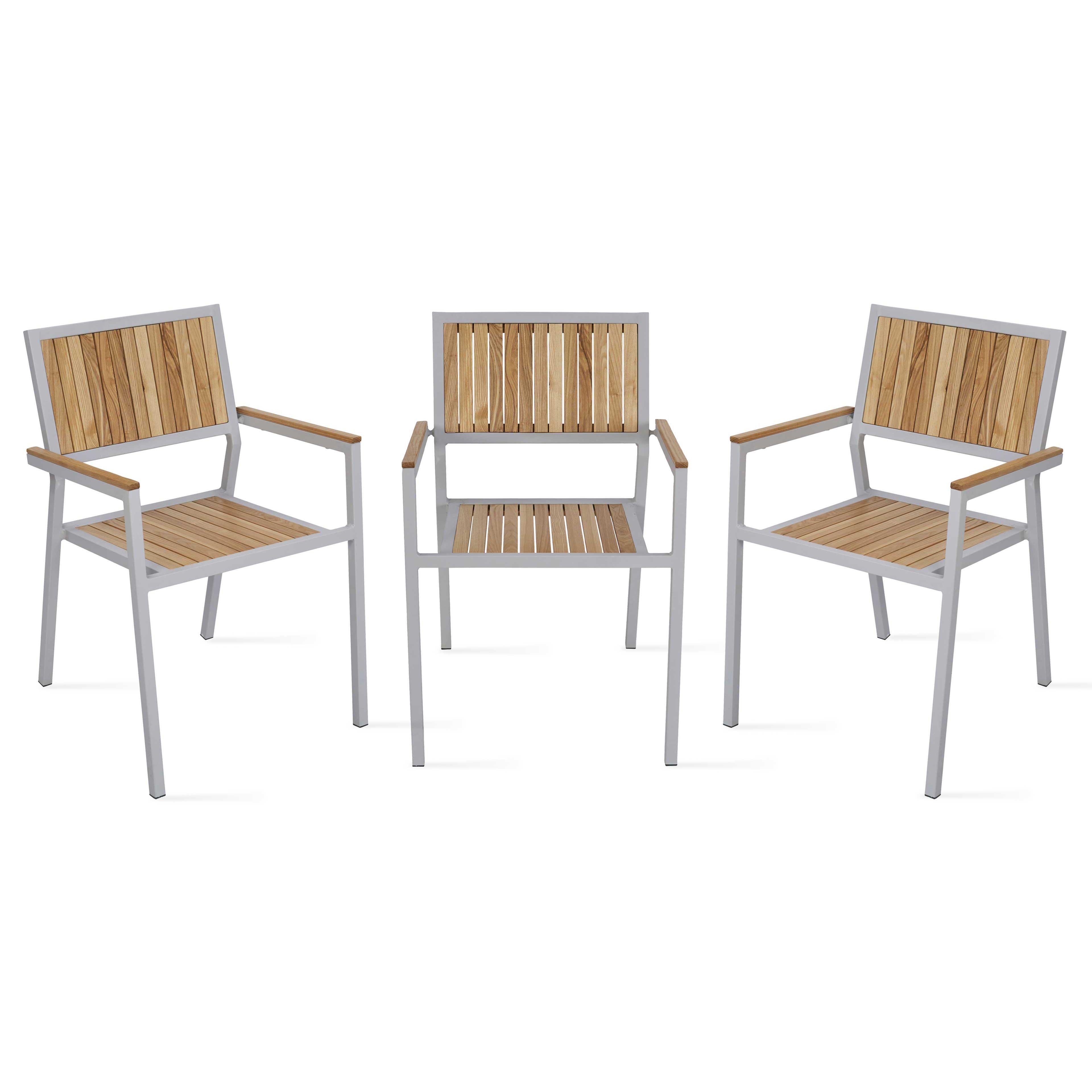 chaise de jardin bois et aluminium empilable. Black Bedroom Furniture Sets. Home Design Ideas