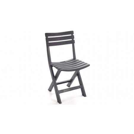 Chaise de jardin pliante en PVC grise