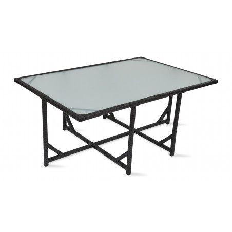 Table de jardin en résine tressée avec plateau en verre