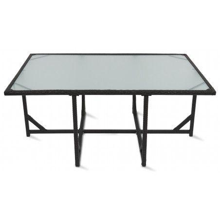 Table salon jardin plateau verre