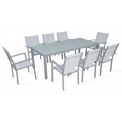 Table de jardin et 8 fauteuils en aluminium et textilène