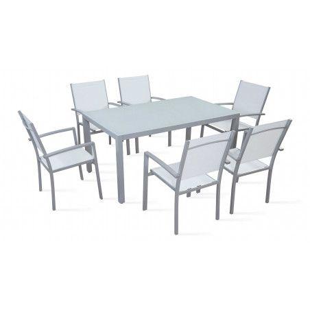 Table de jardin et 6 fauteuils en aluminium et textilène