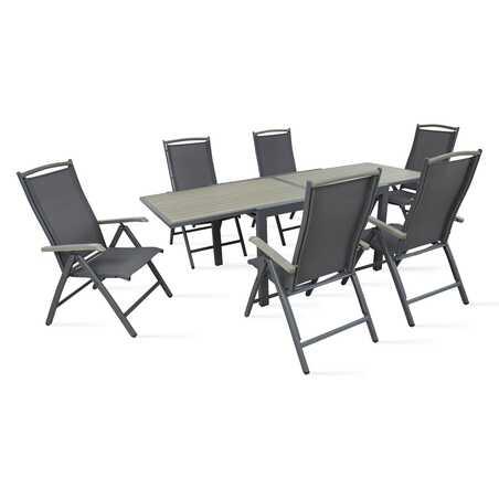 Table de jardin extensible et 6 fauteuils pliants