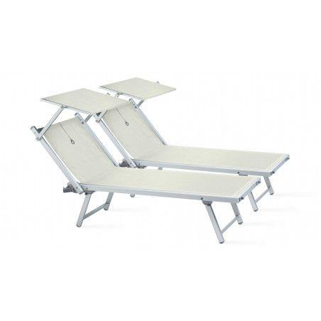 Transats et ombrelle blancs, bain de soleil ombrelle blancs Boutique jardin