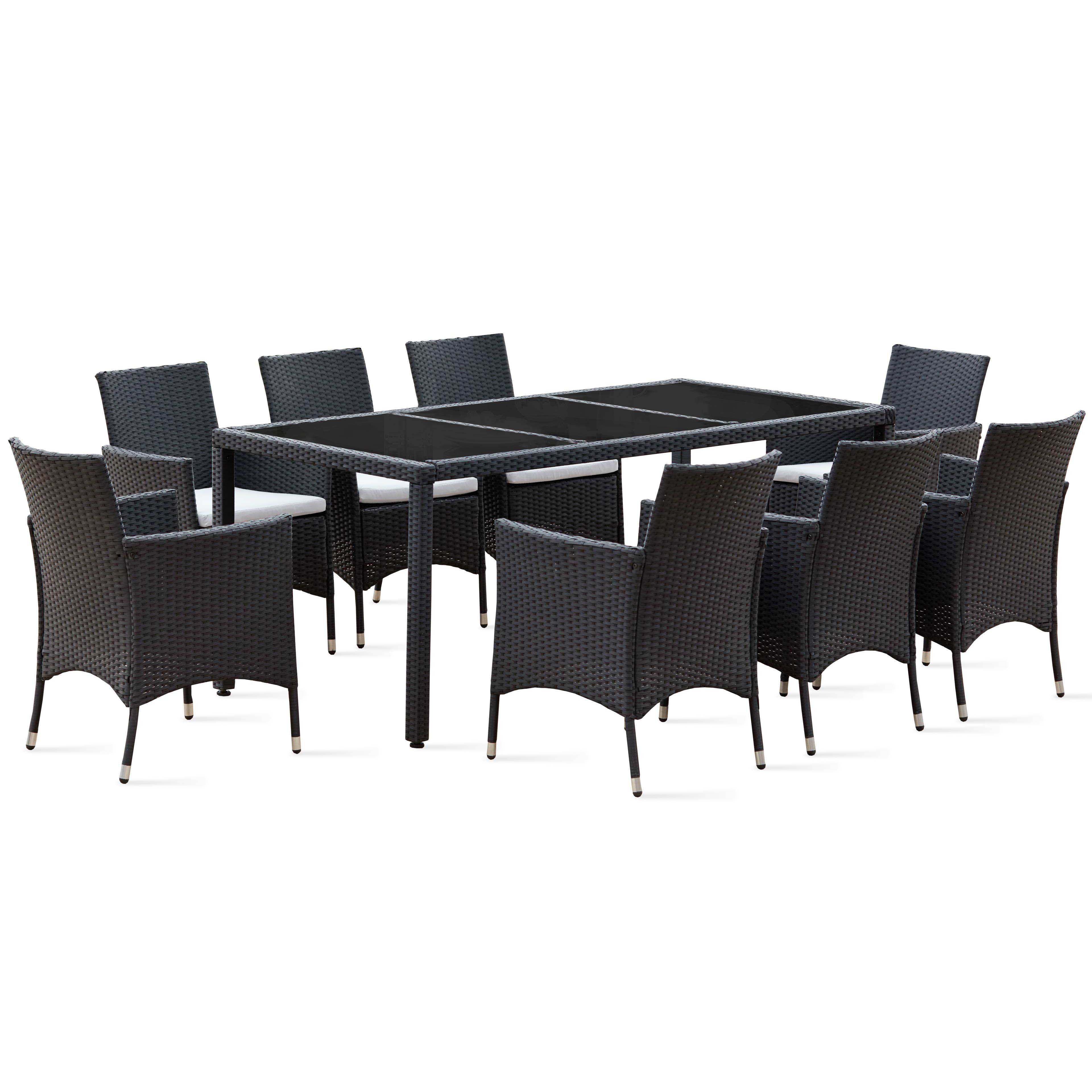 salon de jardin table r sine tress e 8 fauteuils. Black Bedroom Furniture Sets. Home Design Ideas