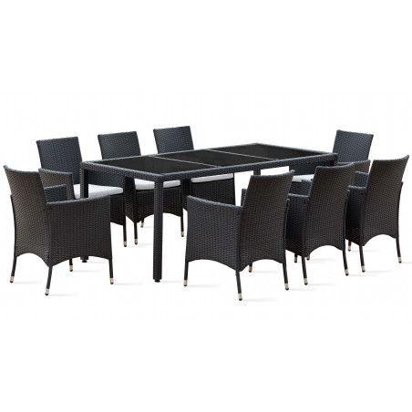 Table de jardin en résine tressée 8 places