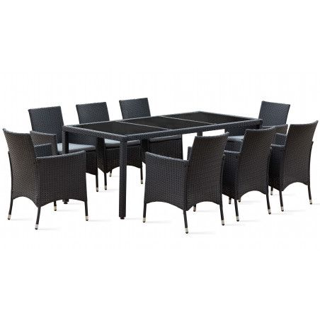 Table de jardin résine tressée et 8 fauteuils