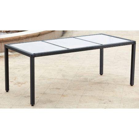 Table de jardin en résine tressée structure aluminium