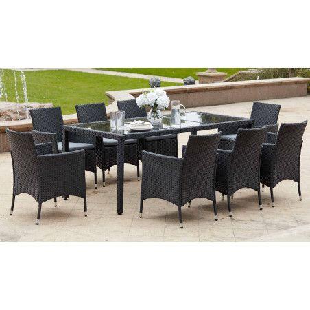 Salon de jardin table en verre et 8 fauteuils en résine tressée