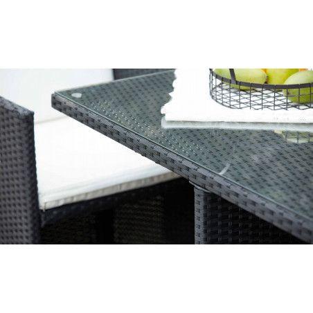 table de jardin carrée avec plateau en verre securit