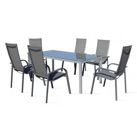 Table de jardin 6 places en aluminium et textilène