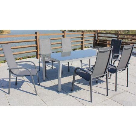 Table de jardin et 6 chaises de jardin grises