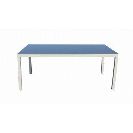 Table de jardin grise 6 places aluminium et verre