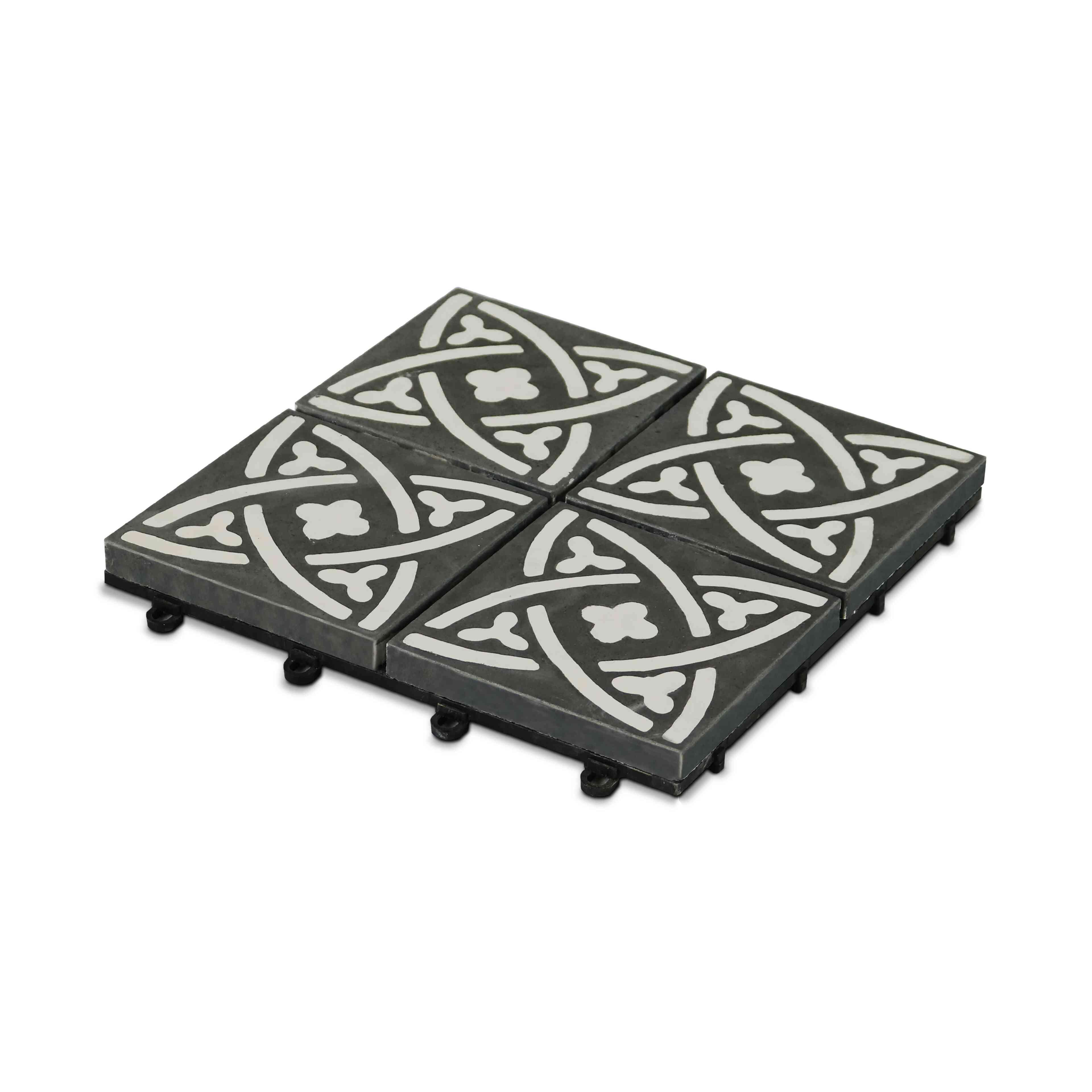 Epaisseur Carreau De Ciment dalle terrasse carreau ciment clipsable | oviala