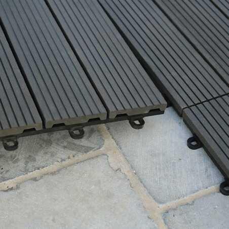Dalle de terrasse clipsable bois composite gris anthracite