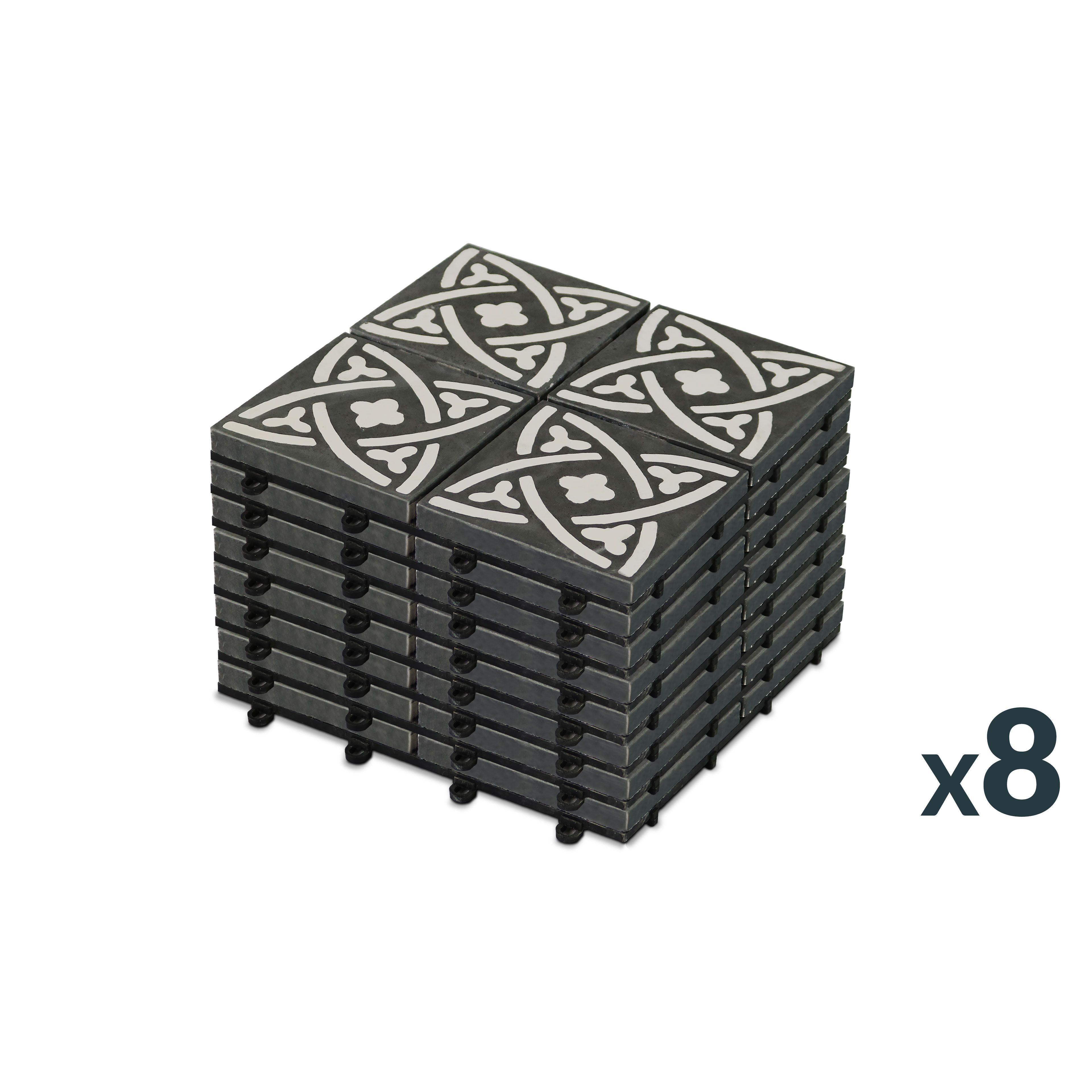 dalles terrasse carreaux ciment clipsables. Black Bedroom Furniture Sets. Home Design Ideas