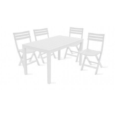 Table de jardin et 4 chaises pliantes en plastique