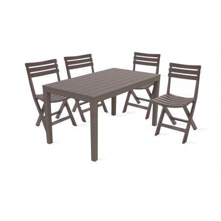 Salon de jardin en plastique table 4 chaises pliantes