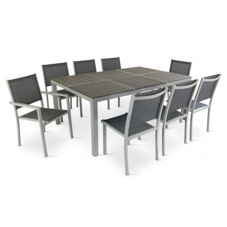 Table de jardin en aluminium et 8 fauteuils en textilène