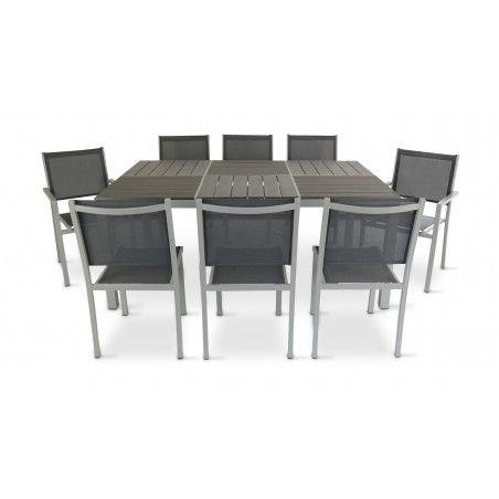 Table mobilier jardin aluminium 8 places