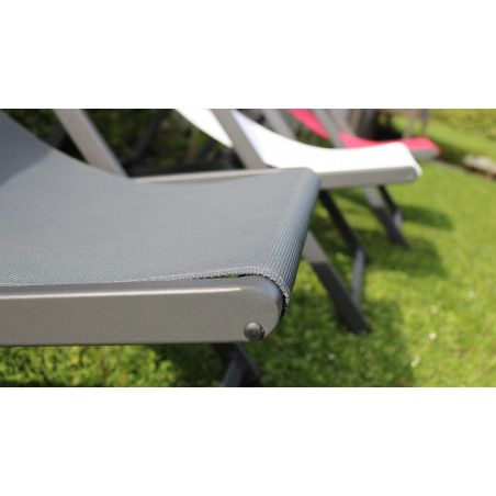 Chilienne transat gris Oviala zoom toile | SANTIAGO