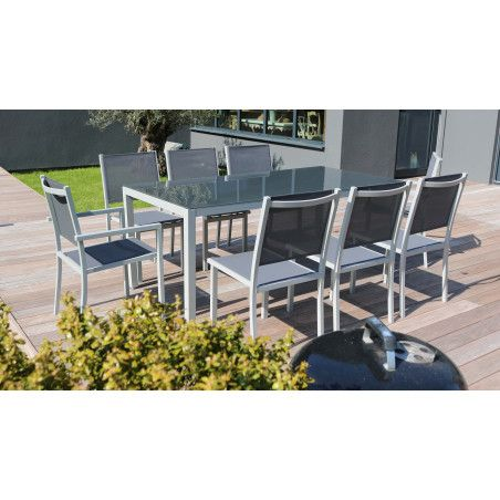 Salon de jardin 1 table en aluminium et 8 fauteuils gris