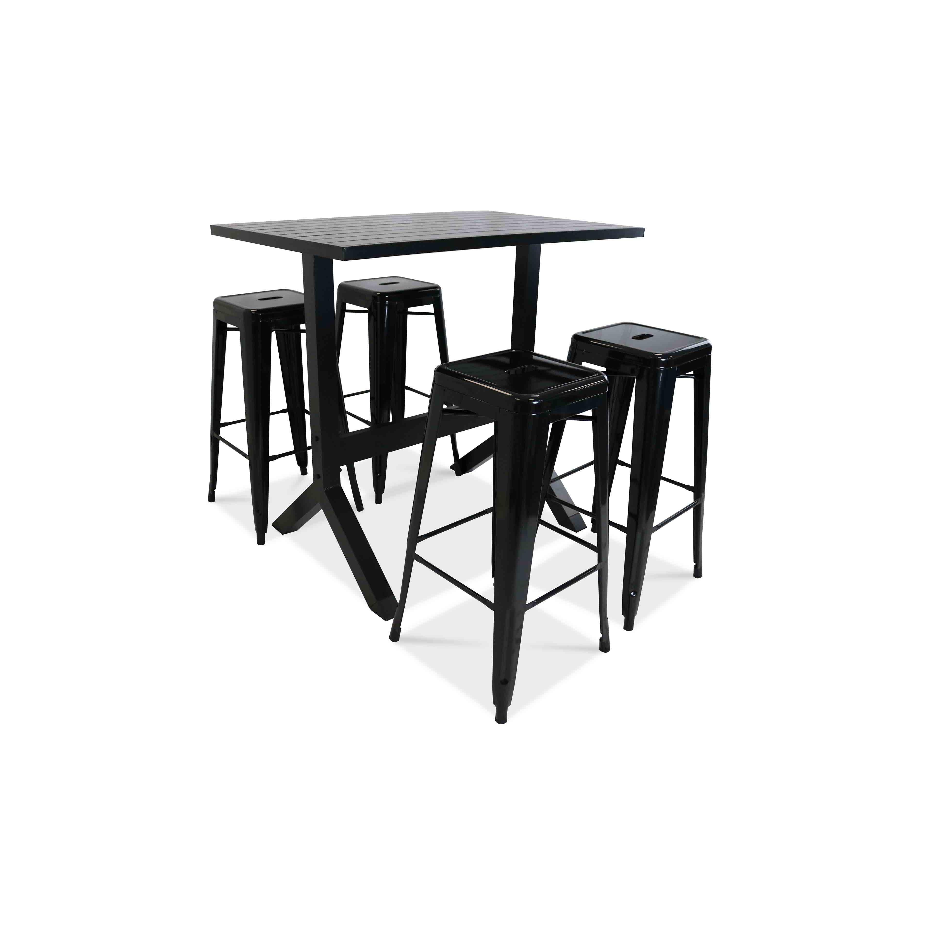 table haute de jardin 4 tabourets m tal. Black Bedroom Furniture Sets. Home Design Ideas