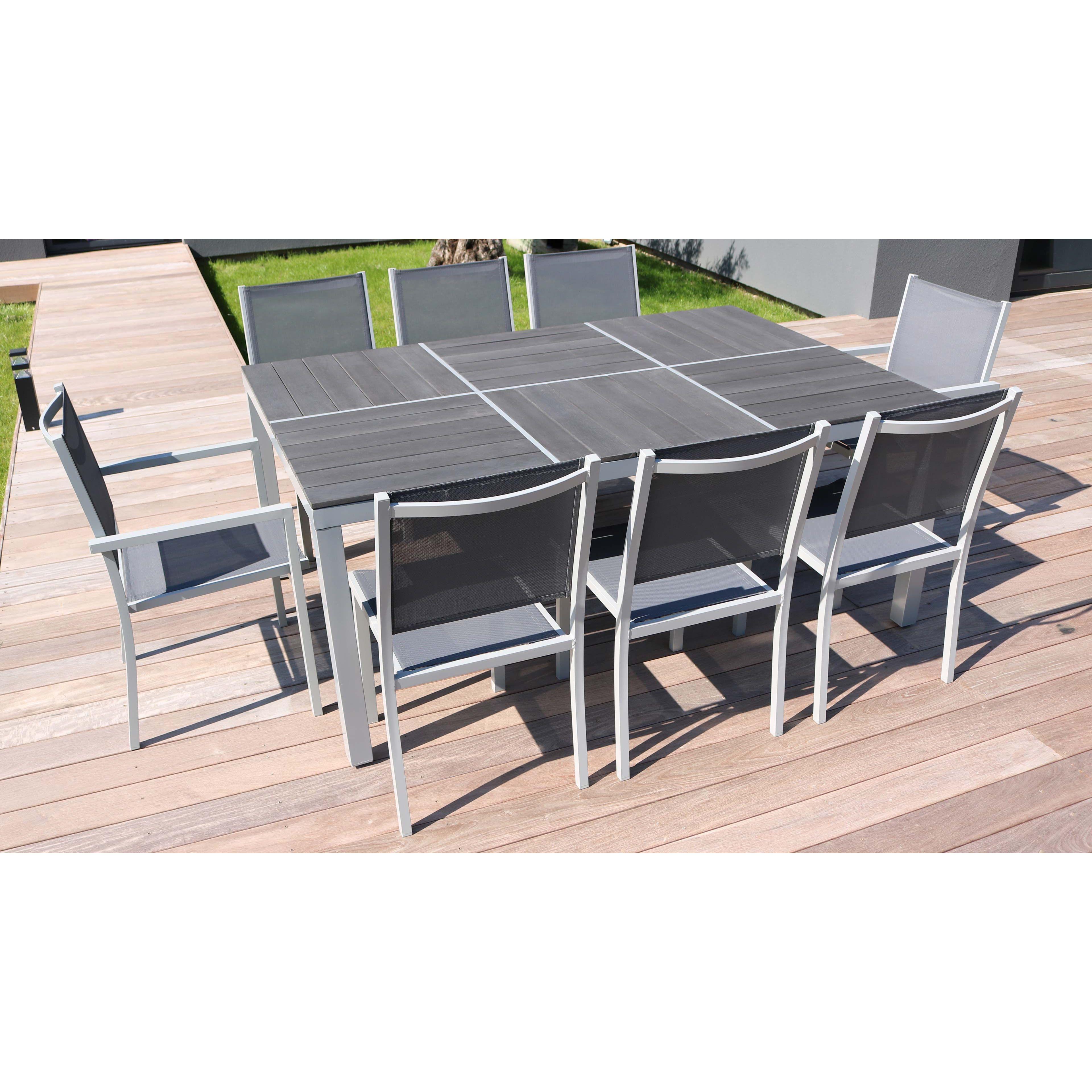 Salon jardin aluminium 1 table et 8 fauteuils textilène