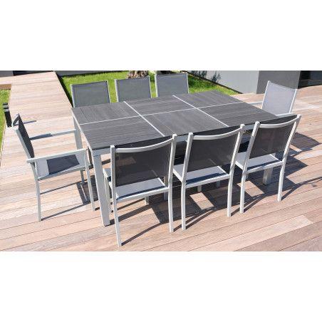 Table jardin aluminium et 8 fauteuils jardin