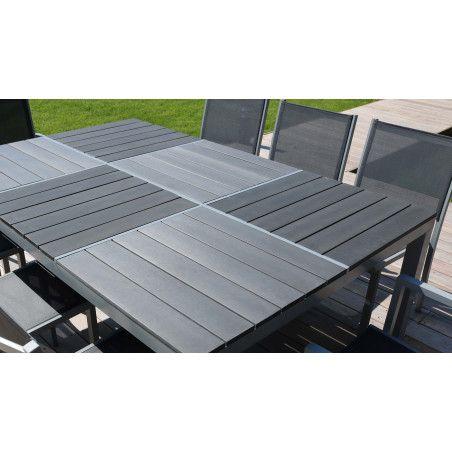 Grande table jardin aluminium bois composite