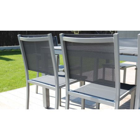 Zoom textilène dossier fauteuil jardin Oviala