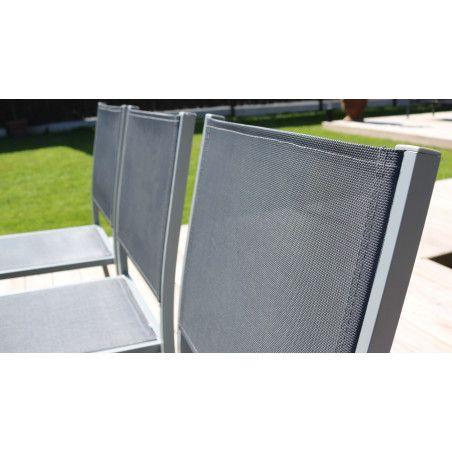 Zoom textilène dossier chaise jardin Oviala
