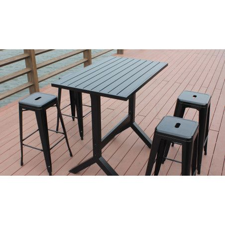 Table de bar et 4 tabourets mobilier jardin