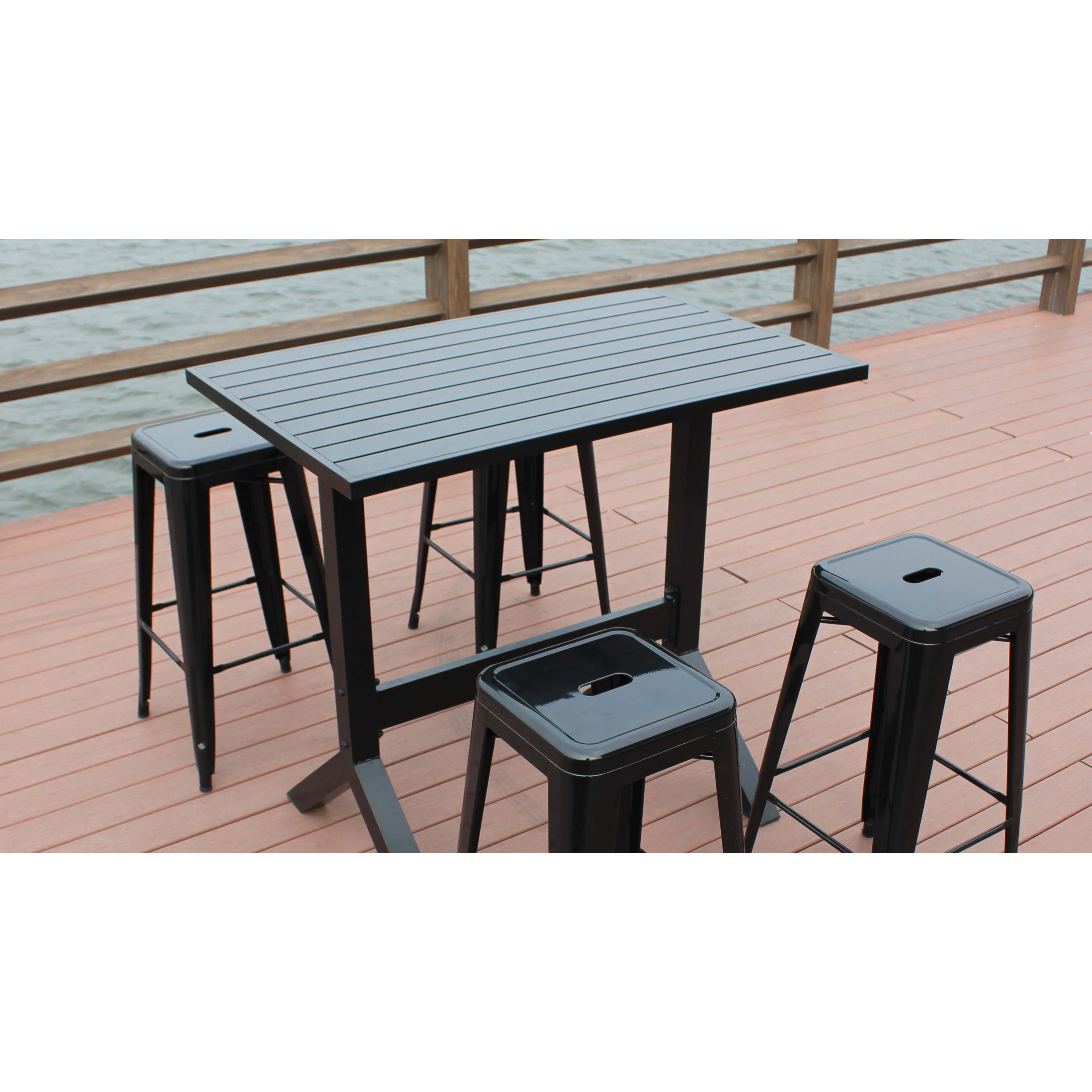 Table haute de jardin 4 tabourets m tal for Table haute jardin