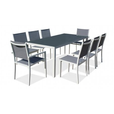 Salon de jardin aluminium table de jardin 8 places