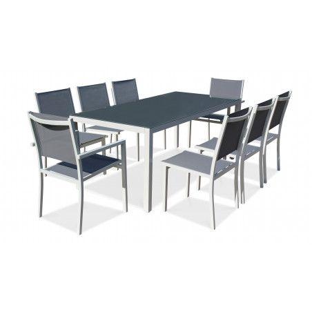 Table de jardin en aluminium et verre 8 places