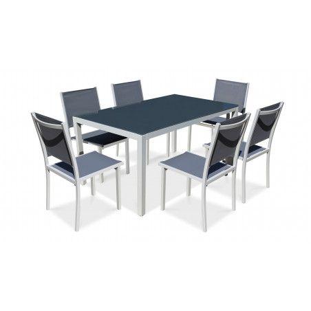 Ensemble table de jardin et 6 chaises en aluminium