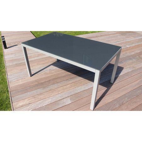 Table de jardin verre et aluminium