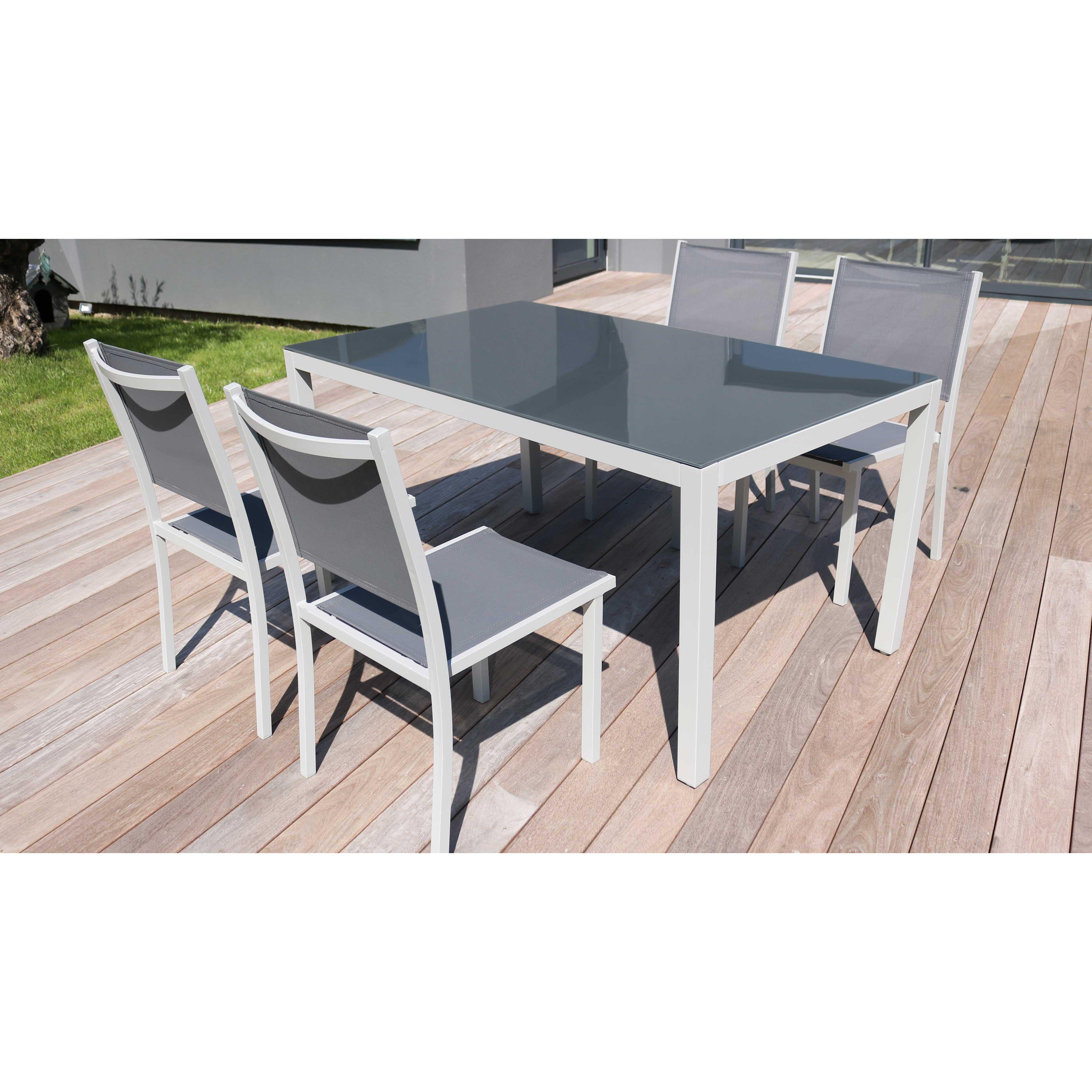 salon de jardin aluminium table de jardin 6 places