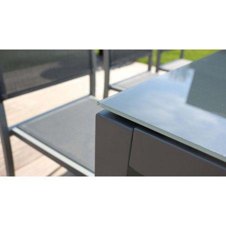 Zoom plateau de verre table jardin