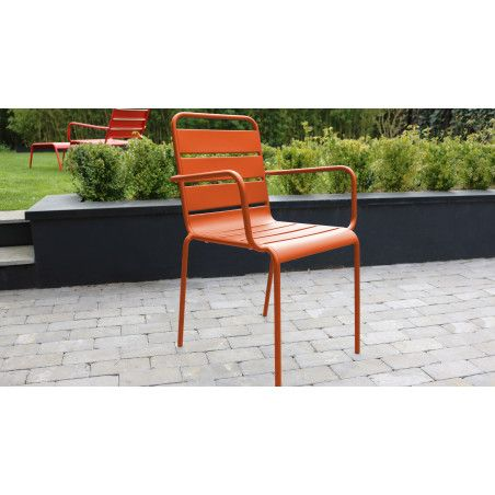 Chaise jardin metal orange PALAVAS