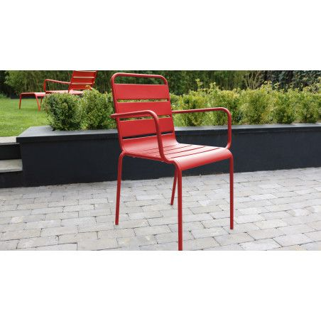 Chaise jardin metal rouge PALAVAS